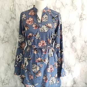 Blush Blue Floral Ruffle Bell Sleeve Dress